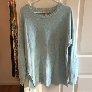 Loft long sleeve light blue sweater, size large